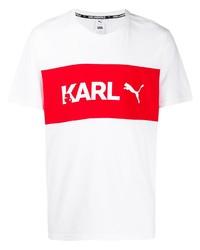 Camiseta con cuello circular estampada en blanco y rojo de Karl Lagerfeld