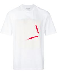 Camiseta con cuello circular estampada en blanco y rojo de Maison Margiela