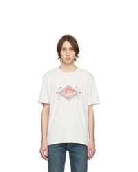 Camiseta con cuello circular estampada en blanco y rojo de Saint Laurent