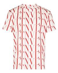 Camiseta con cuello circular estampada en blanco y rojo de Valentino