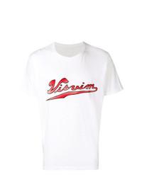Camiseta con cuello circular estampada en blanco y rojo de VISVIM