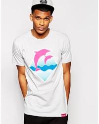 Camiseta con cuello circular estampada en blanco y rosa