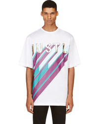Camiseta con cuello circular estampada en blanco y rosa de Juun.J