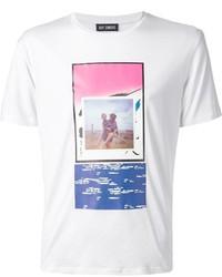 Camiseta con cuello circular estampada en blanco y rosa de Raf Simons