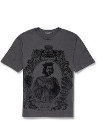 Camiseta con cuello circular estampada en gris oscuro