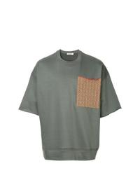 Camiseta con cuello circular estampada en gris oscuro de Jil Sander