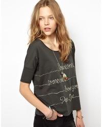 Camiseta con cuello circular estampada en gris oscuro de Pepe Jeans