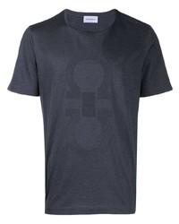 Camiseta con cuello circular estampada en gris oscuro de Salvatore Ferragamo