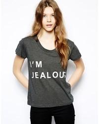 Camiseta con cuello circular estampada en gris oscuro de Sauce