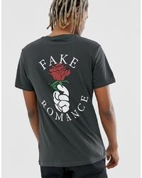 Camiseta con cuello circular estampada en gris oscuro de YOURTURN