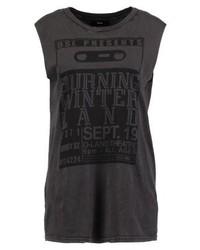 Camiseta con cuello circular estampada en marrón oscuro de Diesel