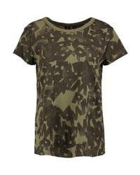 Camiseta con cuello circular estampada en marrón oscuro