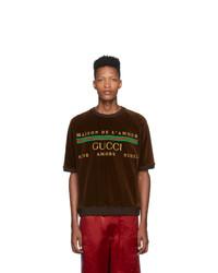 Camiseta con cuello circular estampada en marrón oscuro de Gucci