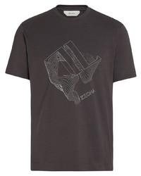 Camiseta con cuello circular estampada en marrón oscuro de Z Zegna