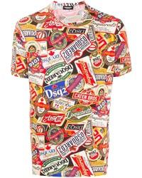 Camiseta con cuello circular estampada en multicolor de DSQUARED2