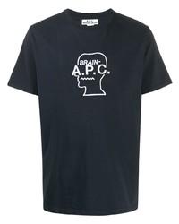Camiseta con cuello circular estampada en negro y blanco de A.P.C.