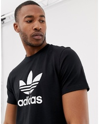 Camiseta con cuello circular estampada en negro y blanco de adidas Originals