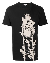 Camiseta con cuello circular estampada en negro y blanco de Alexander McQueen