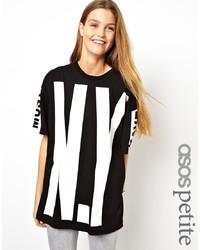 Camiseta con cuello circular estampada en negro y blanco de Asos Petite