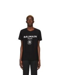 Camiseta con cuello circular estampada en negro y blanco de Balmain
