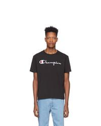 Camiseta con cuello circular estampada en negro y blanco de Champion Reverse Weave
