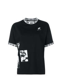 Camiseta con cuello circular estampada en negro y blanco de Damir Doma
