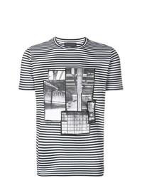 Camiseta con cuello circular estampada en negro y blanco de Diesel Black Gold
