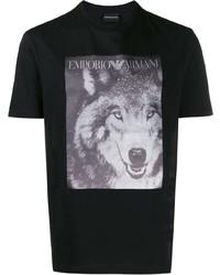 Camiseta con cuello circular estampada en negro y blanco de Emporio Armani