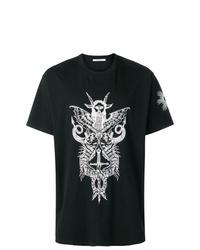 Camiseta con cuello circular estampada en negro y blanco de Givenchy