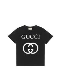 Camiseta con cuello circular estampada en negro y blanco de Gucci