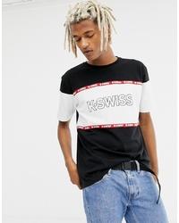 Camiseta con cuello circular estampada en negro y blanco de K-Swiss