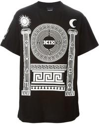 Camiseta con cuello circular estampada en negro y blanco de Kokon To Zai