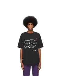 Camiseta con cuello circular estampada en negro y blanco de Ksubi