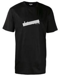 Camiseta con cuello circular estampada en negro y blanco de Lanvin