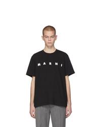 Camiseta con cuello circular estampada en negro y blanco de Marni