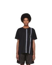 Camiseta con cuello circular estampada en negro y blanco de Moncler Genius