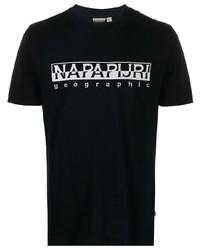 Camiseta con cuello circular estampada en negro y blanco de Napapijri