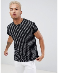 Camiseta con cuello circular estampada en negro y blanco de Night Addict