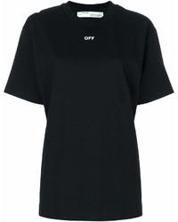 Camiseta con cuello circular estampada en negro y blanco de Off-White