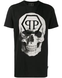 Camiseta con cuello circular estampada en negro y blanco de Philipp Plein