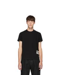Camiseta con cuello circular estampada en negro y blanco de Rick Owens