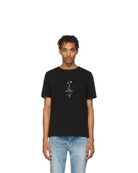 Camiseta con cuello circular estampada en negro y blanco de Saint Laurent
