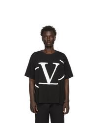 Camiseta con cuello circular estampada en negro y blanco de Valentino