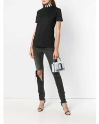 Camiseta con cuello circular estampada en negro y blanco de Versus