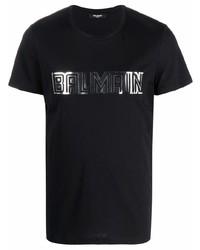 Camiseta con cuello circular estampada en negro y plateado de Balmain