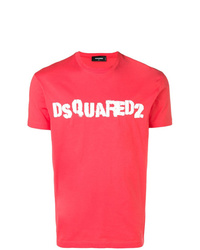 Camiseta con cuello circular estampada en rojo y blanco de DSQUARED2
