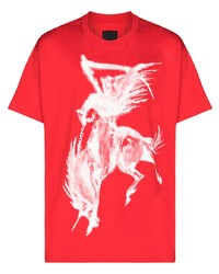 Camiseta con cuello circular estampada en rojo y blanco de Givenchy