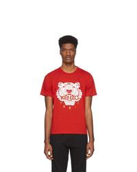 Camiseta con cuello circular estampada en rojo y blanco de Kenzo