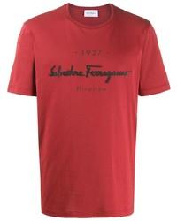 Camiseta con cuello circular estampada en rojo y negro de Salvatore Ferragamo