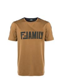 Camiseta con cuello circular estampada en tabaco de Fendi